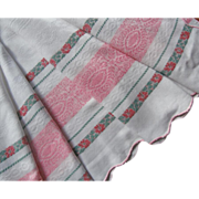 1910s Tablecloth Pink White Scalloped Antique Red Green Flower Stripe