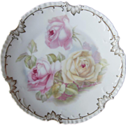 SOLD Roses Antique China Plate Bavaria Pink Yellow Gold White