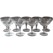 c1920 Roses Engraved Cocktail or Sherbet Stem Glasses Vintage