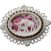 Plastic Foil Brass Vintage Pin Faux Ivory Carved Elephant Jungle