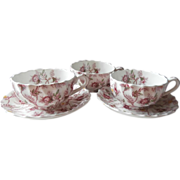 Spode Rosebud Chintz 3 Cups 2 Saucers Vintage Copeland