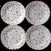 Spode Rosebud Chintz 4 Plates Dessert Luncheon Vintage Copeland