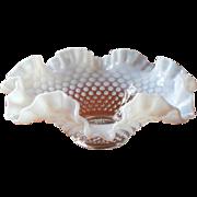 Fenton French Opalescent Hobnail Ruffled Bowl Vintage Fruit Centerpiece