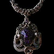 Victorian Revival Drop Necklace Vintage Purple Stone Snakes Antiqued Finish