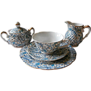 Lefton Blue Paisley Cup Saucer Plate Creamer Sugar Bowl Vintage China