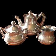 Victorian Tea Set Silver Antique Teapot Creamer Sugar Bowl