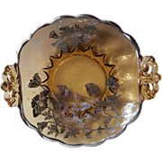SOLD Silver Overlay Amber Glass Dish Vintage Silver City Flanders Poppies - Red Tag Sale Item