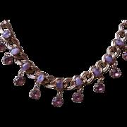 Purple Glass Stones Vintage 1950s Necklace