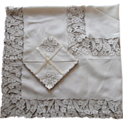 Cutwork Madeira Set Tablecloth Napkins Vintage Linen Embroidery Unused