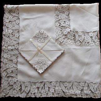 Cutwork Madeira Set Tablecloth Napkins Vintage Linen Embroidery Unused