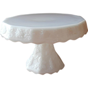 SOLD Milk Glass Cake Pedestal Stand Vintage Grapes Anchor Hocking