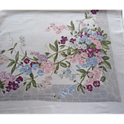 SOLD Sweet Peas Print Tablecloth Vintage Purple Pink Gray White Blue