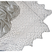 SOLD Filet Crocheted Lace Antique Tablecloth or Coverlet