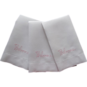 Set Guest Towels Vintage 1950s Linen Pink Welcome Embroidery