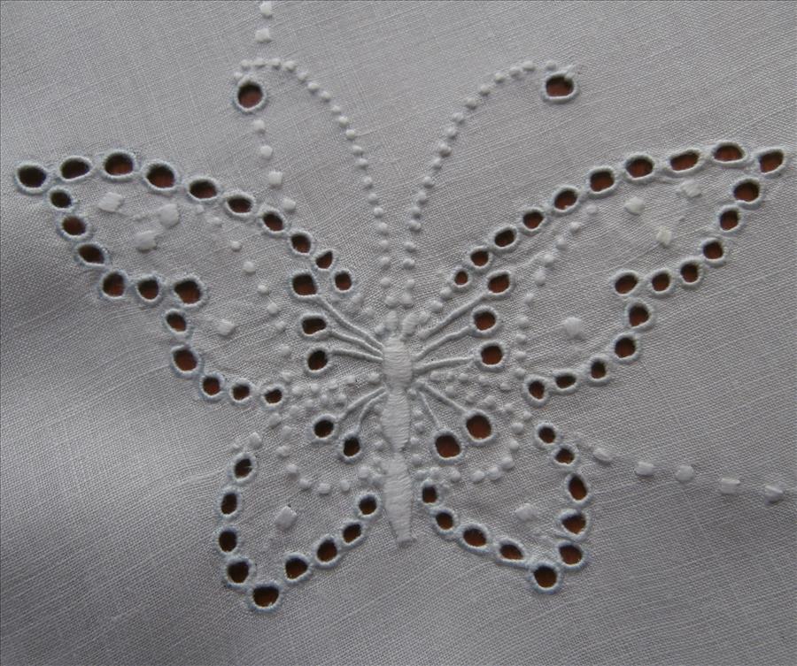 Cutwork Linen Centerpiece Butterflies Antique Hand