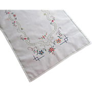 SOLD Hand Embroidery Runner Vintage Tiny Bright Cross Stitching