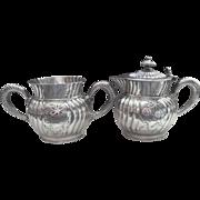 Monogram T Silver Syrup or Cream Pitcher Sugar Bowl Victorian Antique