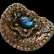 Musi Shoe Clip Huge Vintage Ornate Filigree Art Glass Rhinestone