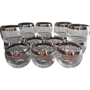 SOLD 15 Roly Poly Silver Band Glasses Dorothy Thorpe Vintage Cocktail