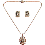 Filigree Rhinestones Set Necklace Earrings Vintage Victorian Revival
