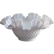 SOLD Fenton Hobnail Milk Glass Centerpiece Bowl Ruffled Crimped