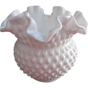 SOLD Fenton Hobnail Milk Glass Rose Bowl Crimped Vase Vintage