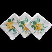 Wilendur Napkins 3 Yellow Roses Print Vintage Printed Unused