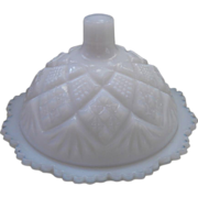 SOLD Miniature Child's Milk Glass Round Butter Dish Antique