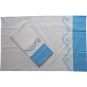 Pillowcases Unused Vintage Border Print Cotton Blue Bows Garlands