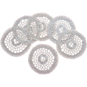 Bobbin Lace Finger Bowl Doilies Vintage Handsome Simple Set 6