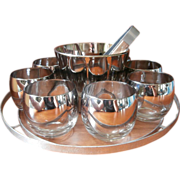 SOLD Roly Poly Barware Cocktail Set Silver Fade Vintage Vitreon 8 Glasses Ice Bucket Tray Tong