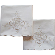SOLD Pillowcases Vintage Cream Ecru Cotton Embroidery Cutwork