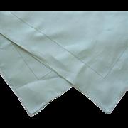 1920s Linen Tablecloth Vintage Mint or Eau De Nil Green Square Luncheon