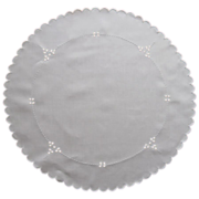 Cutwork Centerpiece Linen Vintage 1920s Hand Embroidery White On White