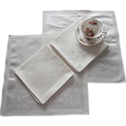 Luncheon Napkins Unused Ivory Damask Floral Weave