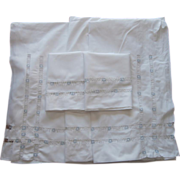 SOLD Antique Sheet Set Pillowcases Unused Blue White Openwork