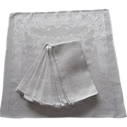 Silver Gray Damask Luncheon Napkins Vintage Set 8