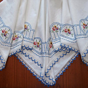 Tea Tablecloth 1920s Hand Embroidery Lace Blue And White