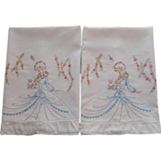 SOLD Southern Belle Embroidered Pillowcases Vintage TLC