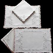 Set Placemats Napkins Vintage Linen Ecru Embroidery Cutwork