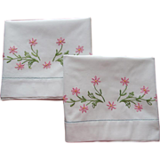 SOLD Embroidered Pillowcases Vintage Pink Flowers Cotton Simple