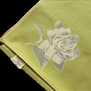 Wilendur Gardenia Print Tablecloth Vintage Kitchen Lime Green