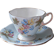 1920s Foley Bone China Cup Saucer Blue Pastel Flowers Vintage English