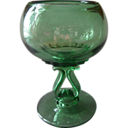 Ivy Bowl Rose Pedestal Vintage Green Glass Maker Unknown