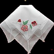 Appliqued red Flowers Vintage Hankie Simple Net Lace Frame