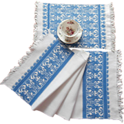 SOLD Runner And Tray Cloth Vintage Matching Blue White Fringed