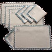 ca 1920 Placemats Napkins Set Vintage Blue White Embroidery Lace