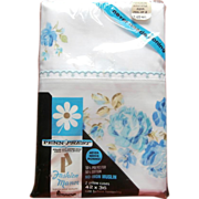 SOLD Pillowcases Aqua Print Roses Vintage J C Penny In Package