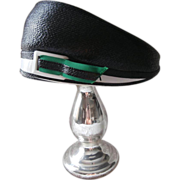 Mod Era Vintage Hat Black Straw Beret Patent Leather Buckle