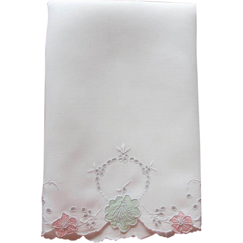 Madeira Towel Appliqued Cutwork Hand Embroidery Vintage